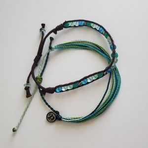 Pura Vida bracelet pair green blue brown